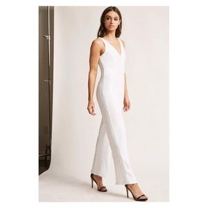 a8aa2eda6997 Forever 21 Pants - NWT Forever 21 White Wide Leg Full Sequin Jumpsuit